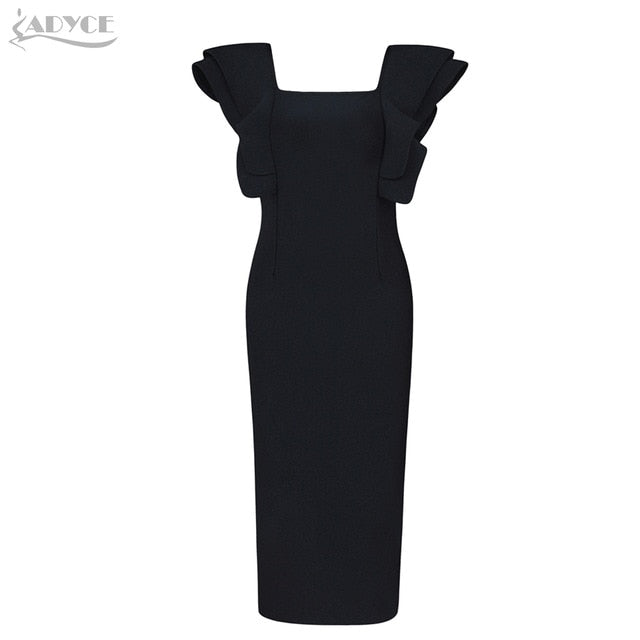 Adyce 2019 New Arrive Summer Women Celebrity Party Black Bandage Dress Vestido Sexy Ruffles Butterfly Sleeve Bodycon Club Dress - Slabiti