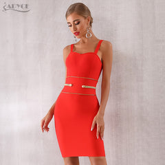 Adyce 2019 New Summer Bandage Dress Women Sexy Spaghetti Strap Red Mini Club Dress Elegant Celebrity Evening Party Dress Vestido - Slabiti