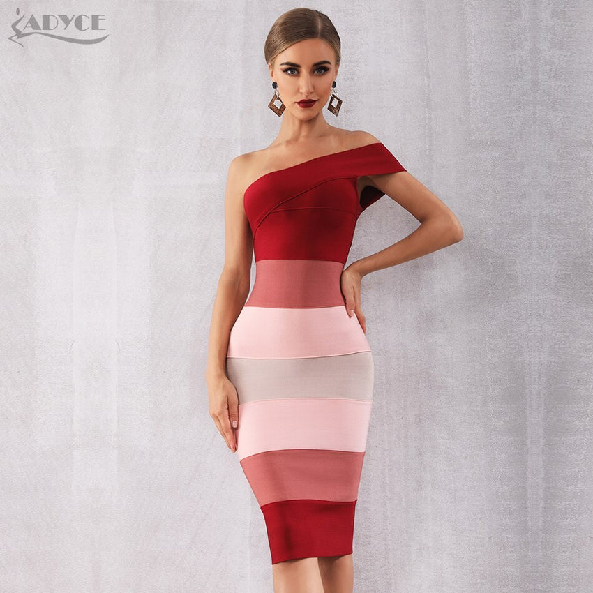 Adyce 2019 New Summer Women Bandage Dress Vestidos Sexy One Shoulder Sleeveless Midi Club Dress Celebrity Evening Party Dresses - Slabiti