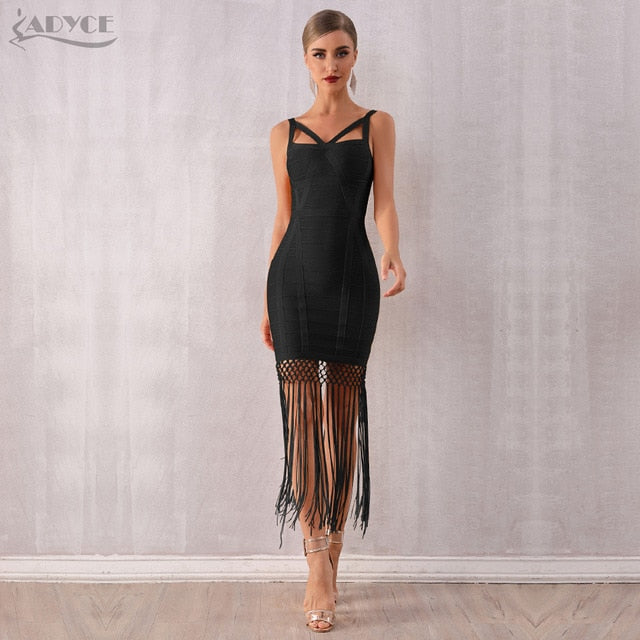 Adyce 2019 New Summer Women Tassel Bandage Dress Vestidos Sexy Sleeveless Fringe Bodycon Club Midi Celebrity Evening Party Dress - Slabiti