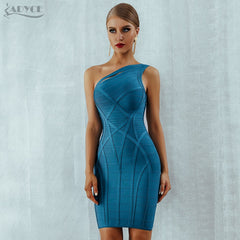Adyce One Shoulder Summer Women Bodycon Bandage Dress Vestidos 2019 New Arrive Hollow Out Runway Celebrity Runway Party Dresses - Slabiti