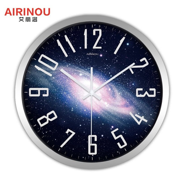 Airinou the Moon Starry Sky and Mars 3 Styles ,Glass&Metal Silent Movement Wall Clock,Children Room Museum Theme Park  Decorate - Slabiti