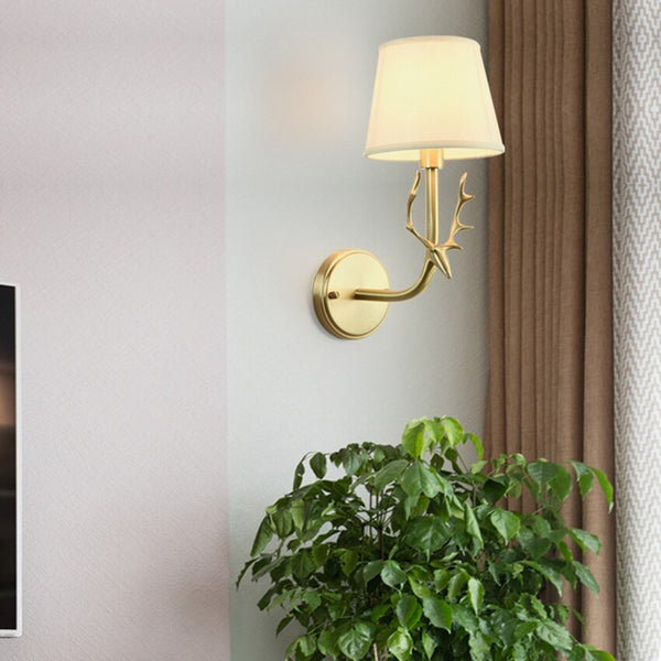 All copper Nordic antler wall lamp bedroom bedside living room fabric wall light modern simple restaurant stair aisle lighting