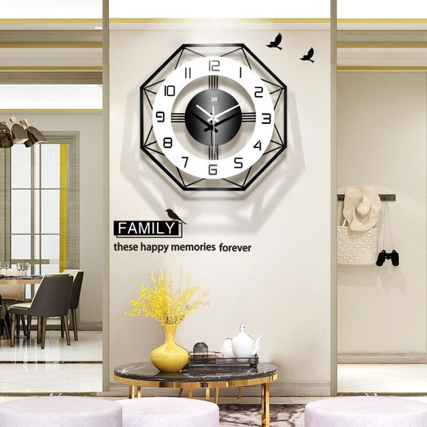 American clock mute wall clock living room Nordic clock fashion home creative quartz clock large art wall charts - Slabiti