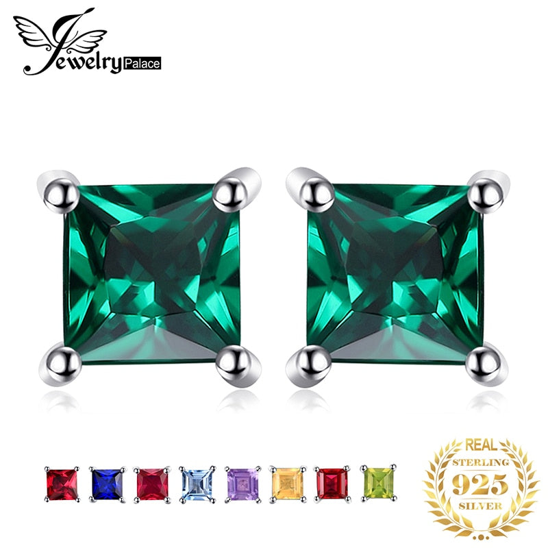 Amethyst Citrine Garnet Peridot Topaz Ruby Emerald Sapphire Stud Earrings Gemstones 925 Sterling Silver Earrings For Women 2019 - Slabiti