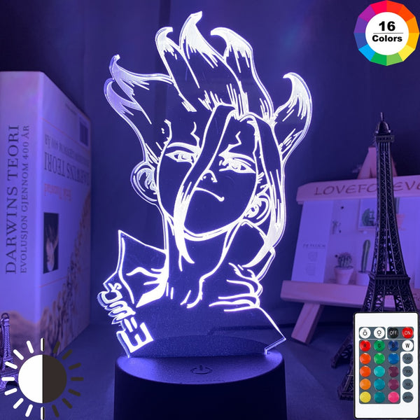 Anime Dr Stone Figure Table 3d Lamp for Kids Child Bedroom Decor Nightlight Manga Gift for Him Acrylic Led Night Light Lamp - Slabiti