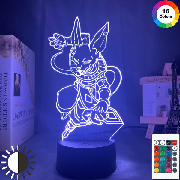 Anime Dragon Ball Super Beerus Figure Led Night Light for Kids Child Bedroom Decor Light Dragon Ball Z Acrylic Table Lamp Gift - Slabiti