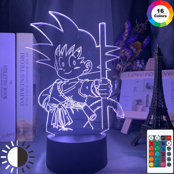 Anime Dragon Ball Young Goku Figure Led Night Light for Kids Bedroom Decor Nightlight Cool Child Birthday Gift Desk 3d Lamp Goku - Slabiti