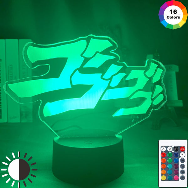 Anime JoJo's Bizarre Adventure Letter Design Led Night Light Touch Sensor Colorful Nightlight for Home Decor Table 3d Lamp Gift - Slabiti