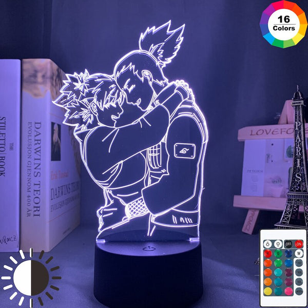 Anime Light Naruto Shikamaru and Temari Lamp for Bedroom Decor Nightlight Kids Child Birthday Gift Led Night Light Anime Naruto - Slabiti