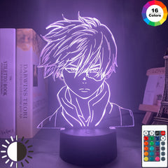 Anime My Hero Academia Shoto Todoroki Face Design Led Night Light Lamp for Kids Child Boys Bedroom Decor Acrylic Table Lamp Gift - Slabiti