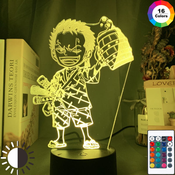 Anime ONE PIECE Led Night Light Roronoa Zoro Figure Nightlight for Kids Child Bedroom Decoration Usb Table 3d Lamp Gift - Slabiti
