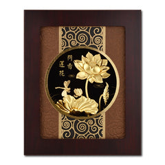 Asklove 3D Chinese painting Gold Lotus Pictures 24K Gold Foil Painting Wall art Picture Desktop Ornament Crafts Home Decor Gifts - Slabiti