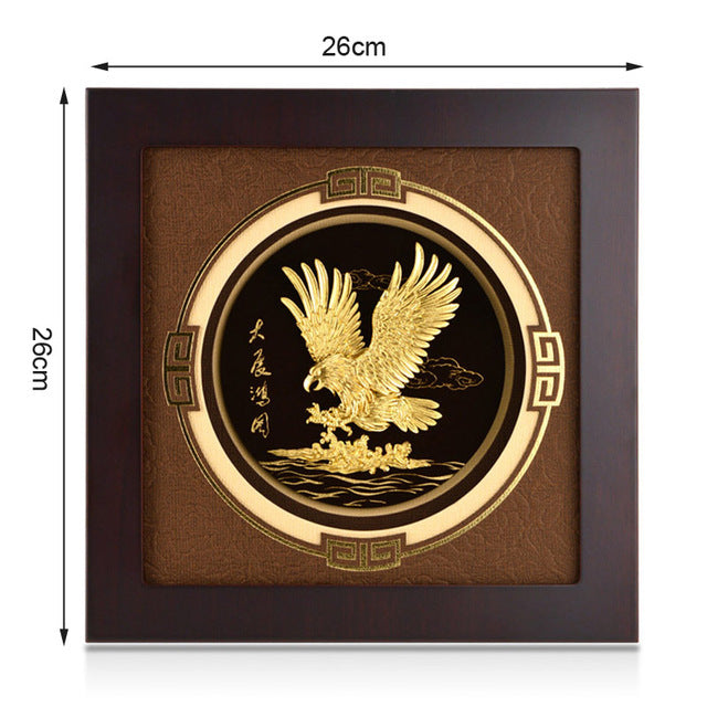 Asklove 3D Eagle wall art pictures Gold Foil Painting Gold Framed pictures Modern pictures desktop Crafts Gifts Home decoration - Slabiti