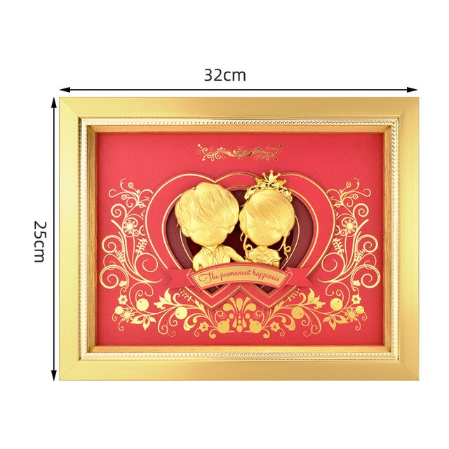 Asklove 3D Eternal Love Pictures Gold foil Painting ornaments Wedding decor Gifts Wall art pictures Just Married Home decoration - Slabiti