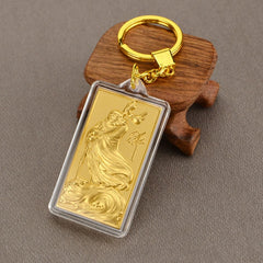 Asklove 3D Gold Key buckle 24K Gold Foil Party gifts Luxury Keychains send friends colleagues gifts Decoration Fortunate Pendant - Slabiti