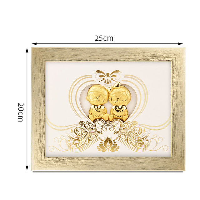 Asklove 3D Gold foil Painting poster Wall Art Pictures Wedding Anniversary Valentine's Day gifts wall picture Just Married decor - Slabiti