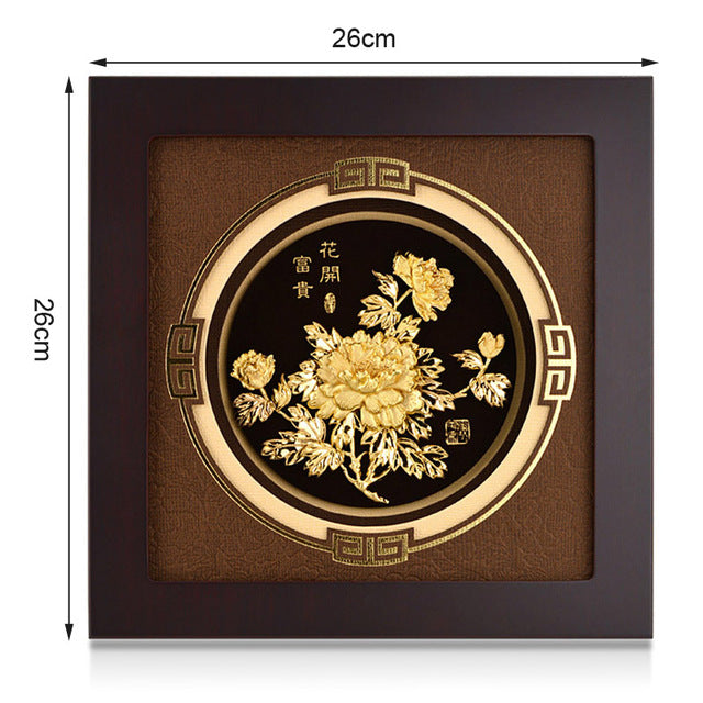 Asklove 3D Gold foil painting Blossoming flower pictures Wall art Framed pictures for living room Gifts crafts Home decoration - Slabiti