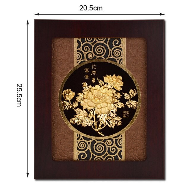 Asklove 3D Wealth Flower picture 24K Gold foil Painting Wall art pictures Desktop Ornaments Crafts Gifts Home Decor Art Painting - Slabiti