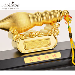 Asklove Feng Shui Pen Decoration 24K Gold Foil Ornament Lucky Wealth Fortune Ornaments Gold WenChang Pen Crafts Home Decoration - Slabiti