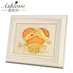 Asklove Golden finger pictures 24K Gold Foil Painting Creative Engagement wedding Decor Gifts Wall art picture Home Decoration - Slabiti