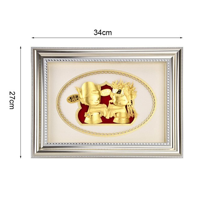 Asklove Just Married decoration 24K Gold foil Painting wedding doll 3d Wall art Pictures Wedding Gifts wall pictures Home decor - Slabiti