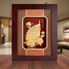 Asklove Wall hanging picture Gold Peacock painting 24K Gold foil painting Modern Wall art Framed picture Home decoration Gifts - Slabiti