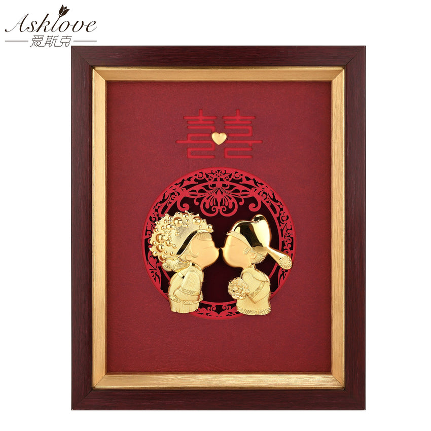 Asklove Wedding decoration 24k Gold Foil Painting Happy Wedding Gold pictures Desktop Ornaments Crafts Wall Pictures Home Decor - Slabiti