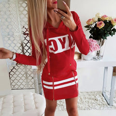 Autumn Hoodies Dress Women Letter Print Hooded Dresses 2019 Lady Casual Zipper Drawstring Stripe Sweatshirt Dress ropa mujer D30 - Slabiti