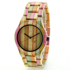 BEWELL Women Wood Watch 100% Handmade Natural Colorful Bamboo Quartz Wristwatch Design Luxury Casual Watches for Female 105DL - Slabiti