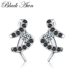 BLACK AWN 1.3g 925 Sterling Silver Fine Jewelry Trendy Engagement Earrings for Women Female Wedding Earrings  T022 - Slabiti