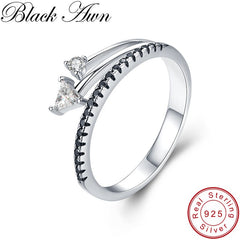 BLACK AWN 100% Real 925 Sterling Silver Rings for Women Black Spinel Silver 925 Jewelry Engagement Ring G019 - Slabiti