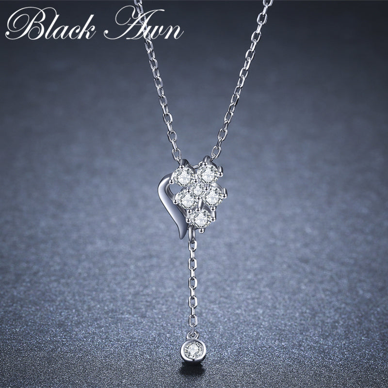 BLACK AWN 2019 New 925 Sterling Silver Jewelry Heart Elegant Necklaces Pendants Female Bijoux Lover's Gift K020 - Slabiti