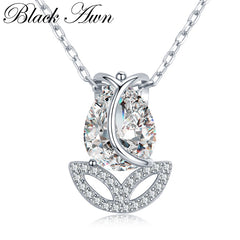BLACK AWN 2019 New 925 Sterling Silver Jewelry Tulip Flower Elegant Necklaces Pendants Party Gift Bijoux KK023 - Slabiti