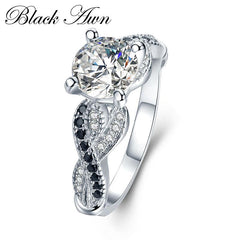 [BLACK AWN] 3.6g 100% 925 Sterling Silver Jewelry Neo-Gothic Row Black Zircon Engagement Rings for Women Wedding Ring C402 - Slabiti