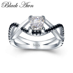 [BLACK AWN] 3.8g 925 Sterling Silver Jewelry Black Stone Wedding Rings for Women Square Zircon Engagement Ring Femme Bague C431 - Slabiti