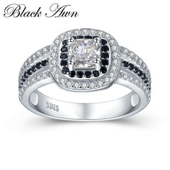 [BLACK AWN] 3.9g 925 Sterling Silver Jewelry Wedding Rings for Women Black&White Stone Engagement Ring Femme Bijoux Bague C407 - Slabiti