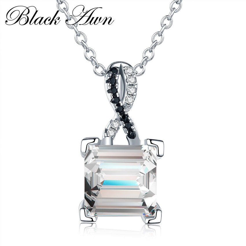 [BLACK AWN] 925 Sterling Silver Fine Jewelry Trendy Engagement Necklaces for Women Wedding Pendants P026 - Slabiti