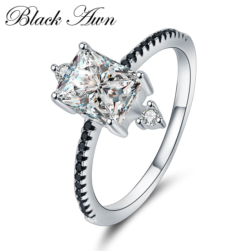 [BLACK AWN] 925 Sterling Silver Row Black Stone Engagement Rings for Women Fine Jewelry Bague C312 - Slabiti