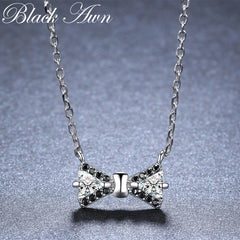 BLACK AWN Bow Shape New Arrivals 925 Sterling Silver Fine Jewelry Trendy Engagement necklaces & pendants for Women K018 - Slabiti
