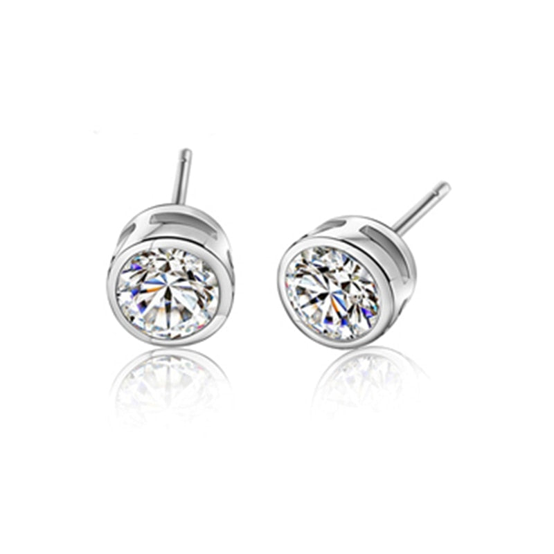 BLACK AWN Classic 925 Sterling Silver Earrings Cute Stud Earrings for Women Silver 925 Jewelry Round Boucles d'oreilles I300 - Slabiti