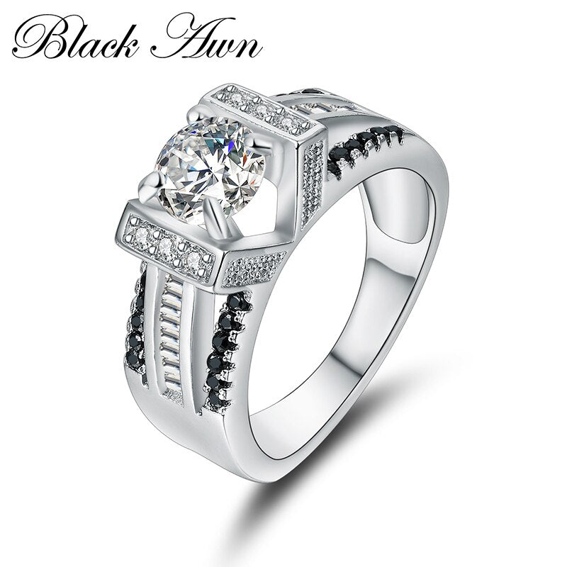 [BLACK AWN] Genuine 100% 925 Sterling Silver Jewelry Rings for Women Black&White Stone Bague C300 - Slabiti