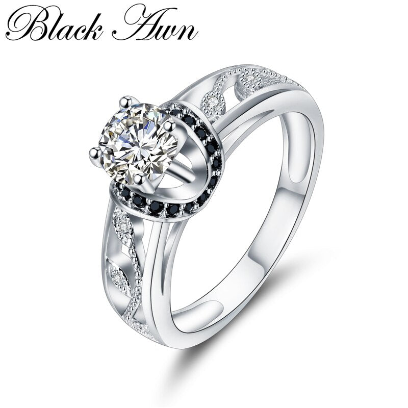 [BLACK AWN] Genuine Solid 925 Sterling Silver Fine Jewelry Trendy Engagement Rings for Women Bague Wedding Ring C302 - Slabiti