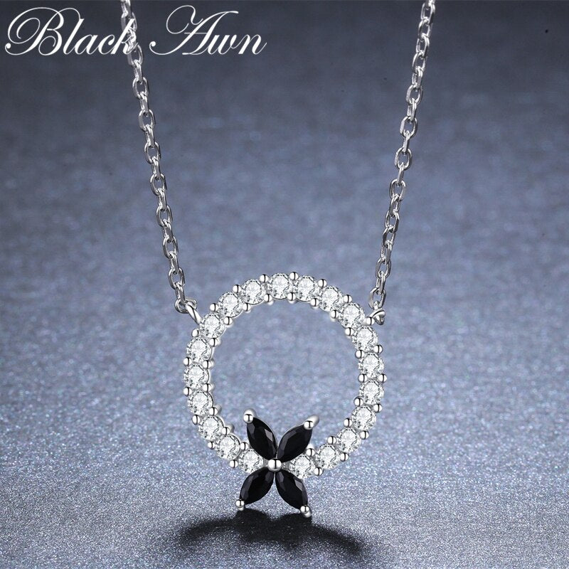 BLACK AWN New Arrival Classic 925 Sterling Silver Flower Round Pendant Necklaces for Women Fine Jewelry Gift K038 - Slabiti