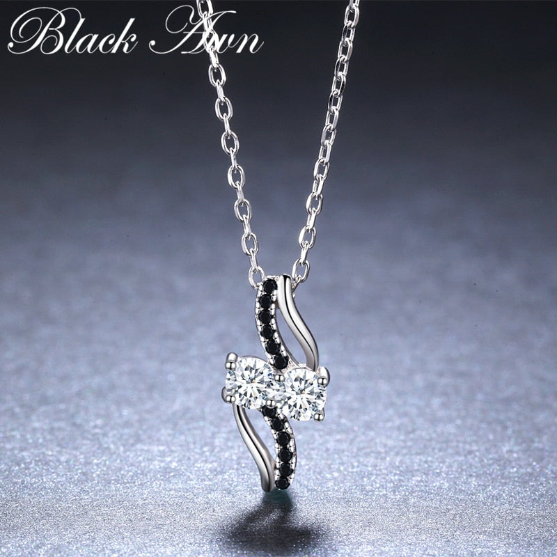BLACK AWN New Arrival Classic Real 925 Sterling Silver Fine Jewelry Trendy Engagement necklaces & pendants for Women K024 - Slabiti