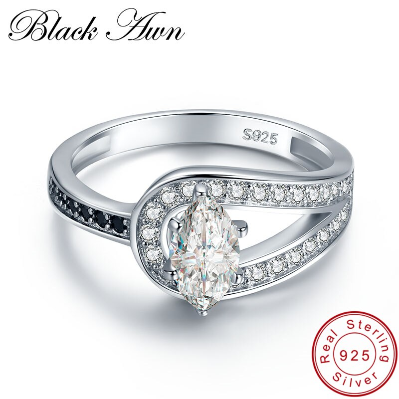 [BLACK AWN] Wedding Rings for Women 2.6g Solid 925 Sterling Silver Jewelry Black Stone Zircon Engagement Ring Bague C405 - Slabiti