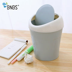 BNBS Mini Trash Can Rolling Cover Tape Car Waste Bin Home Office Bathroom Desktop Garbage Paper Basket Trash Container Case - Slabiti