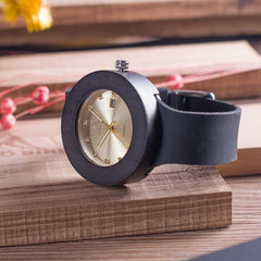 BOBO BIRD C03 Ebony Wooden Watch with Soft Leather Band Quartz Gold Analog Calendar High Quality Miyota Movement Accept OEM - Slabiti