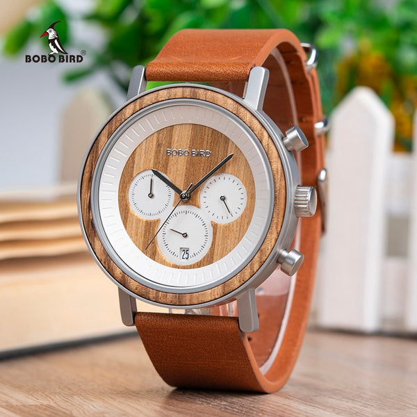 BOBO BIRD Chronograph Men Watches Stainless Steel Relogio Masculino Wooden Watch Women relojes para hombre in Wood Gift Box - Slabiti