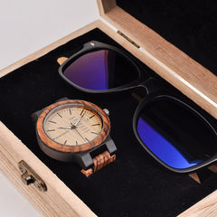 BOBO BIRD Classic Men Custom Wood Watch and Wooden Sunglasses Suit Present Box Gift Set for Dad Fathers Day - Slabiti